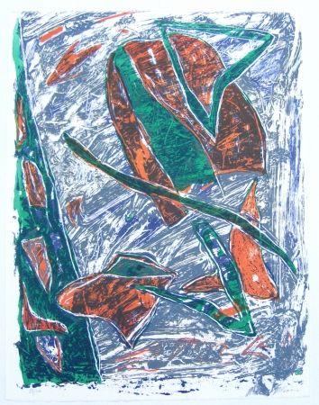 Litografía Humair - Composition verte et rouge