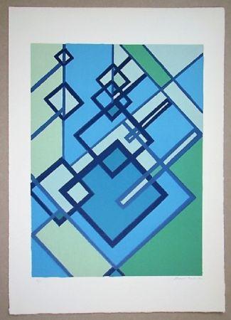 Litografía Radice - Compositione astratta blu verde