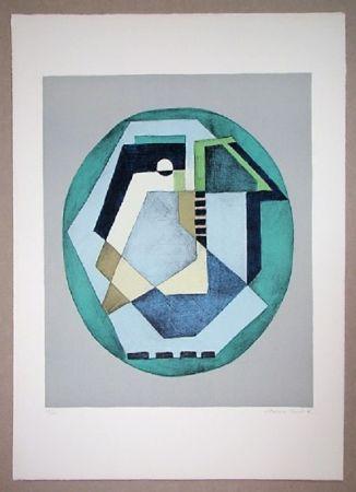 Litografía Radice - Compositione astratta verde