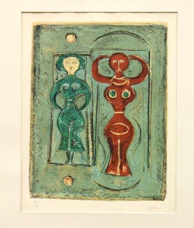 Litografía Campigli - Composizione con due figure