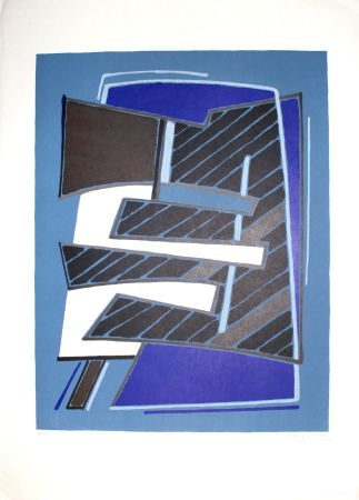 Litografía Magnelli - Composizione in Azzurro