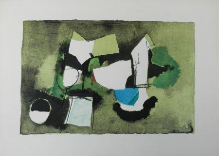 Litografía Afro - Composizione in verde