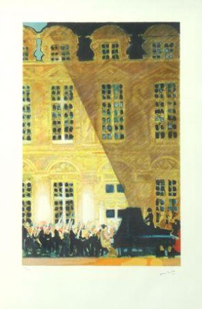 Litografía Ambille - Concert au chateau