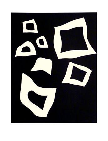 Litografía Arp - CONSTELLATION 7 BLANCHES SUR NOIR (1960).