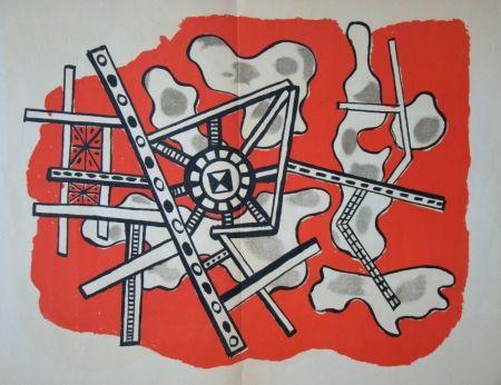 Litografía Leger - Construction sur fond rouge