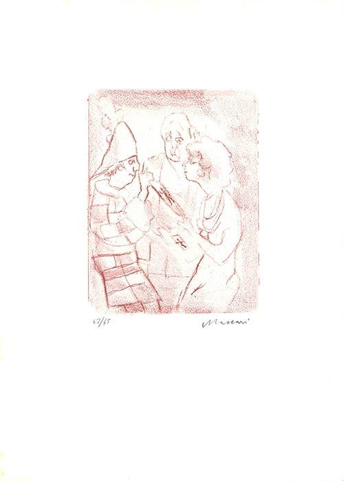 Aguafuerte Y Aguatinta Maccari - Coppia con il clown