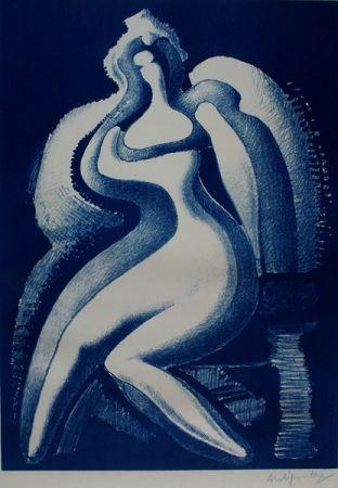 Litografía Archipenko - Coquette (Blue Nude)