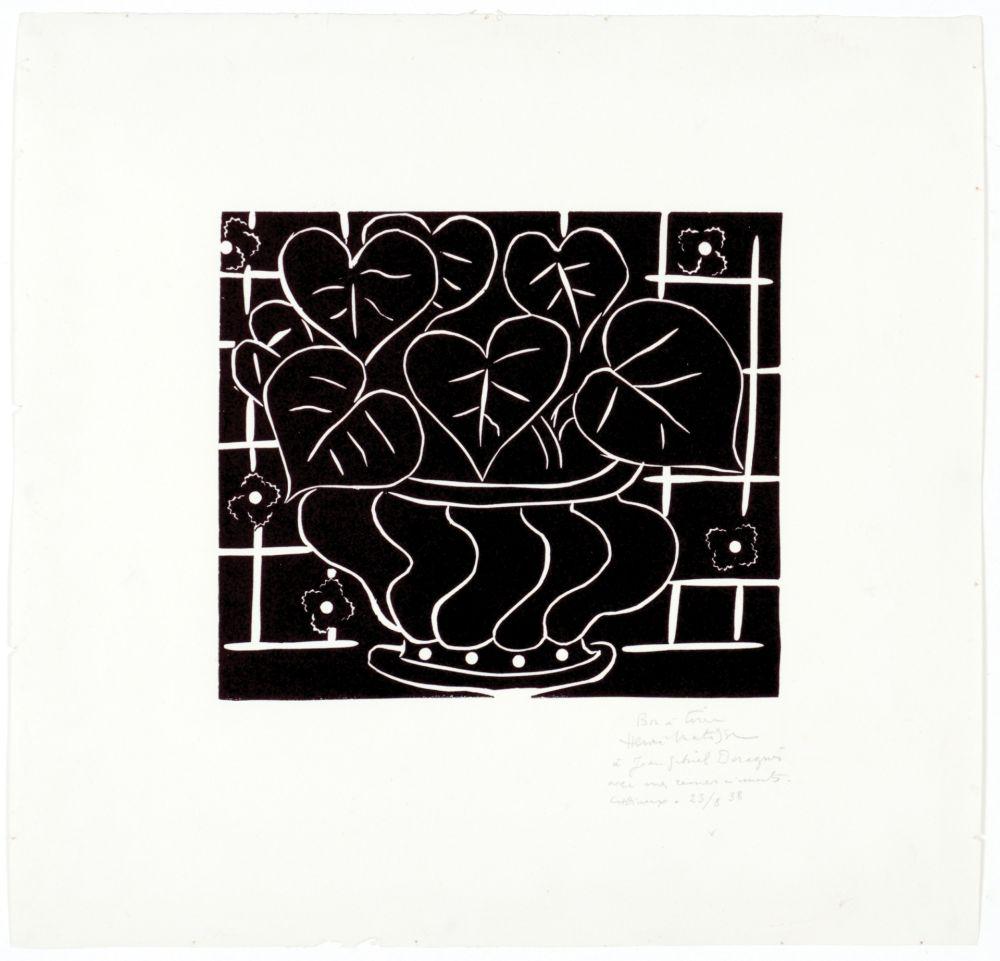 Linograbado Matisse - Corbeille de bégonias I
