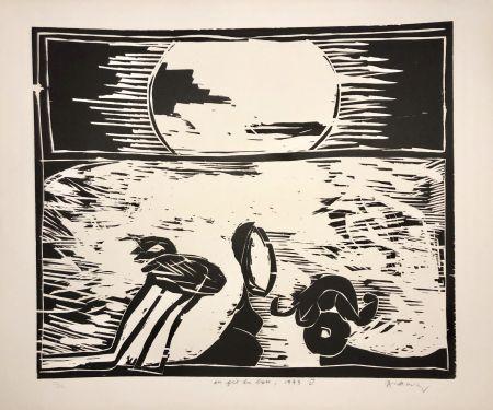 Grabado En Madera Alechinsky - Coucher de soleil « Au fil du bois »