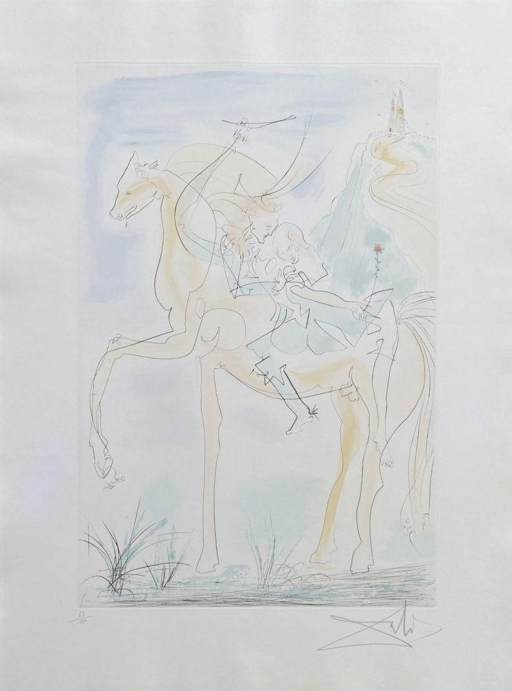 Grabado Dali - Couple à cheval