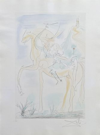Grabado Dali - Couple à cheval