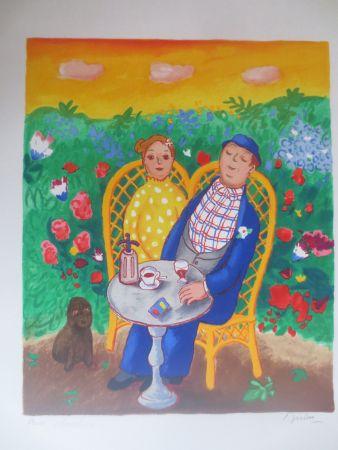 Litografía Jirlow - Couple assis