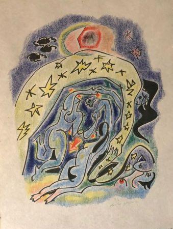 Litografía Masson - Couple aux étoiles