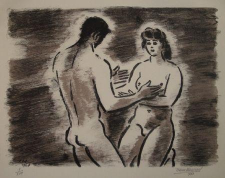 Litografía Masereel - Couple de nus