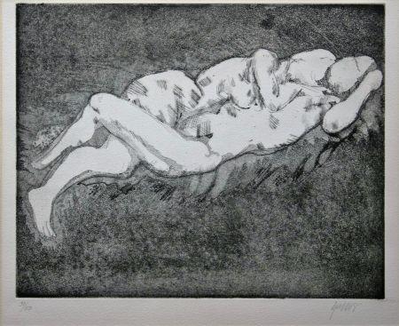 Litografía Olovson - Couple enlacé