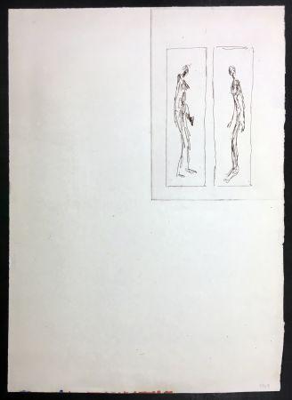 Aguafuerte Giacometti - Couple face à face (Iliazd: Poésie de Mots Inconnus. 1949)
