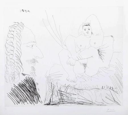 Grabado Picasso - Courtisane au lit avec un visiteur  from the 347 Series