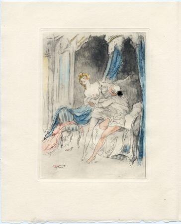 Libro Ilustrado Icart - Crébillon : LA NUIT ET LE MOMENT. 25 eaux-fortes de Louis Icart (1946).