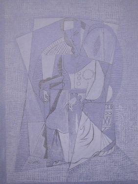 Litografía Lhote - Cubistic woman (femme assise)