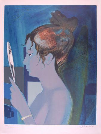 Litografía Hilaire - Dame au miroir