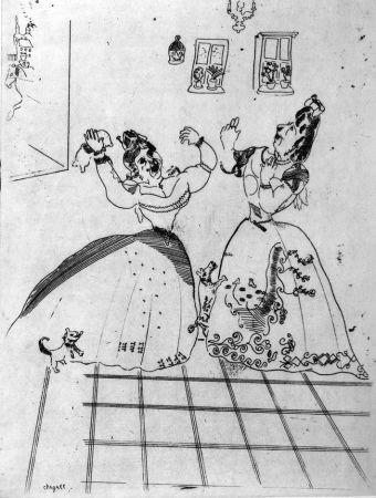 Aguafuerte Chagall - Dames Charmantes Et Charmantes À Tous Égards