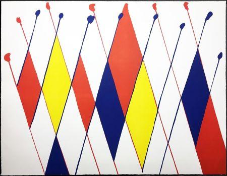 Litografía Calder - Damier de losanges bleus jaunes rouges (1966).