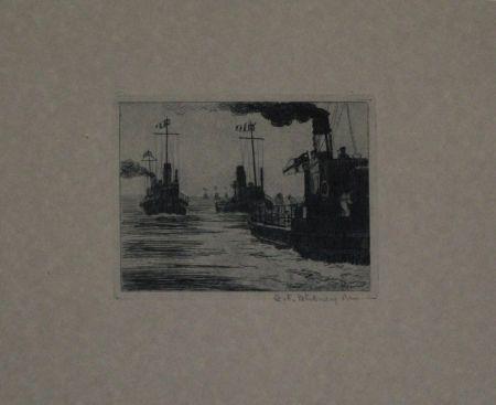 Grabado Hübner - Dampfschiffe / Steamboats