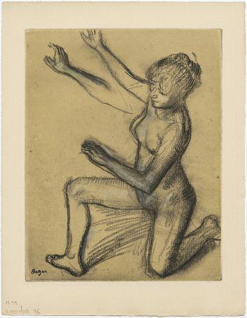 Aguafuerte Y Aguatinta Degas - Danseuse : étude de nu et mouvements (vers 1896)