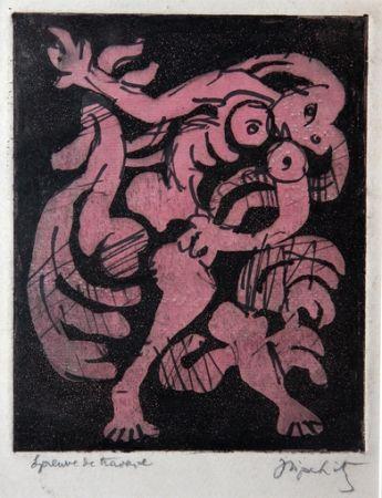 Aguatinta Lipchitz - Danseuse et Coq (aka Femme et Coq)