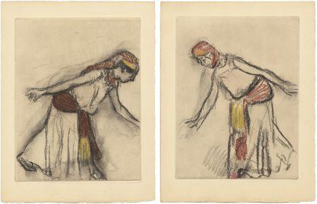 Aguafuerte Y Aguatinta Degas - Danseuse orientale : 2 études (vers 1890)