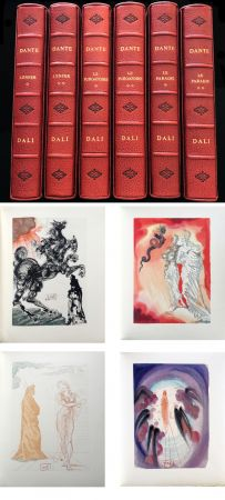Libro Ilustrado Dali - Dante : LA DIVINE COMÉDIE. 6 volumes reliures éditeur. 100 planches couleurs signées. (1959)