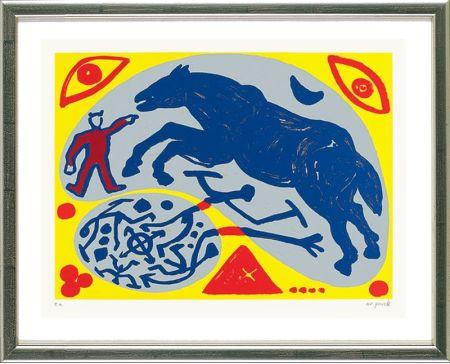 Serigrafía Penck - Das Blaue Pferd und der Mongole