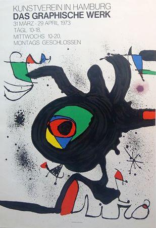 Cartel Miró - DAS GRAPHISCHE WERK. Kunstverein in Hamburg. Affiche originale, 1973.