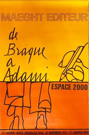 Cartel Adami - DE BRAQUE À ADAMI : Exposition 1974. Affiche originale.