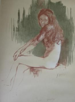 Litografía Héroux - Demi-vierge