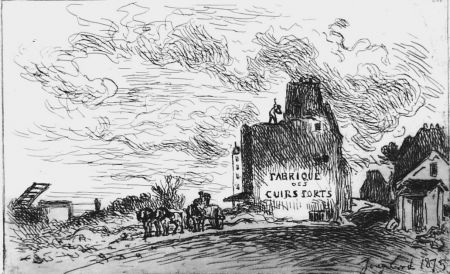 Aguafuerte Jongkind - Demolitions de la rue des Francs-Bourgeois Saint-Marcel