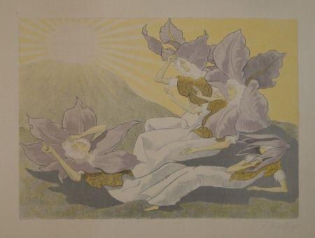 Litografía Kreidolf - Der Blumen Erwachen. Vier liegende Clematis-Mädchen erwachen bei der aufgehenden Sonne.
