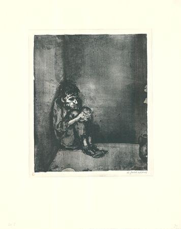 Litografía Weber - Der Gefangene (Der Blechnapf)