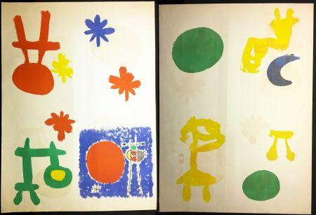 Litografía Miró - DERRIÈRE LE MIROIR n° 14-15. 1948. JOAN MIRO. TIRAGE À PLAT SANS LE TEXTE.