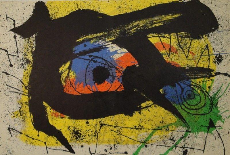 Litografía Miró - DERRIÈRE LE MIROIR, No 203. Miró.