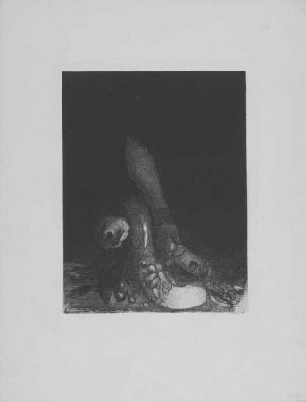 Litografía Redon - Des fleurs tombent, e la tete d'un phyton parait