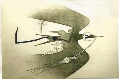 Grabado Lam - Des hommes -oiseaux, des nageurs-courbes