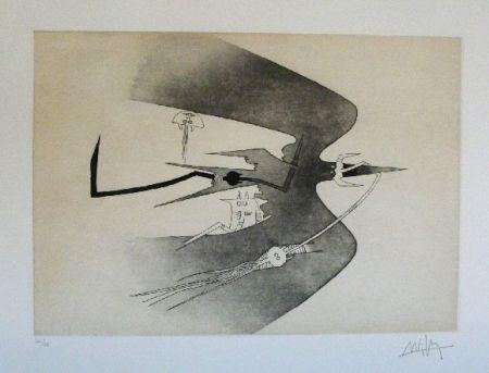 Aguafuerte Y Aguatinta Lam - Des hommes oiseaux, des nageurs courbes