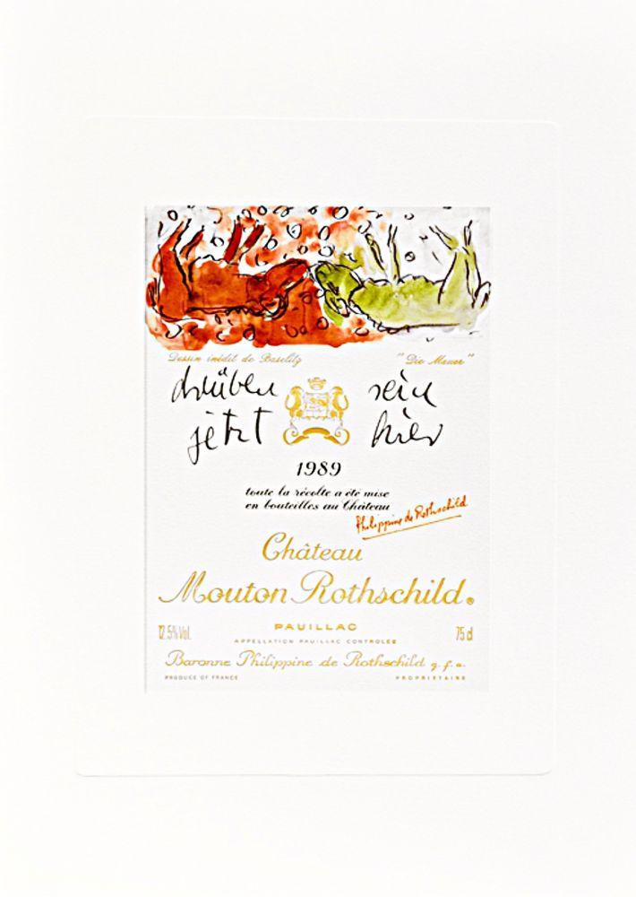 "Litografía Baselitz -  Design de Georg Baselitz - ""Die Mauer"""