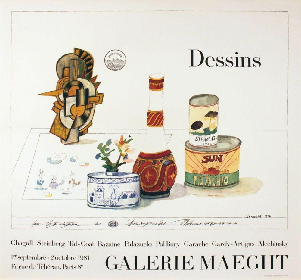 Cartel Steinberg - DESSINS. Galerie Maeght 1981. Tirage de luxe de l'affiche.