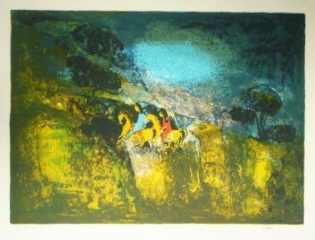 Litografía Lebadang - Deux cavalieres