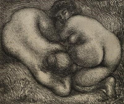 Litografía Maillol - Deux femmes dans l'herbe.