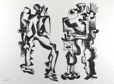 Litografía Zadkine - Deux figures