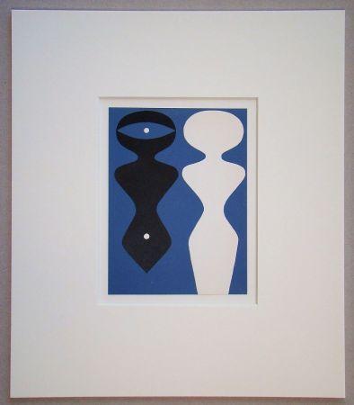 Grabado En Madera Arp - Deux figures sur fond bleu