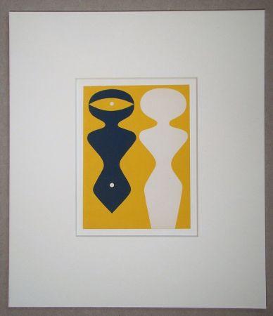 Grabado En Madera Arp - Deux figures sur fond jaune